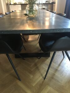 Custom built kitchen table. 100x280cm. Fully welded steel legs and frame with a table top made of zink with a homemade patina.
