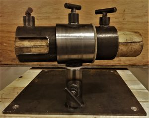 Customized knife-maker`s vise built from scrap metal.
